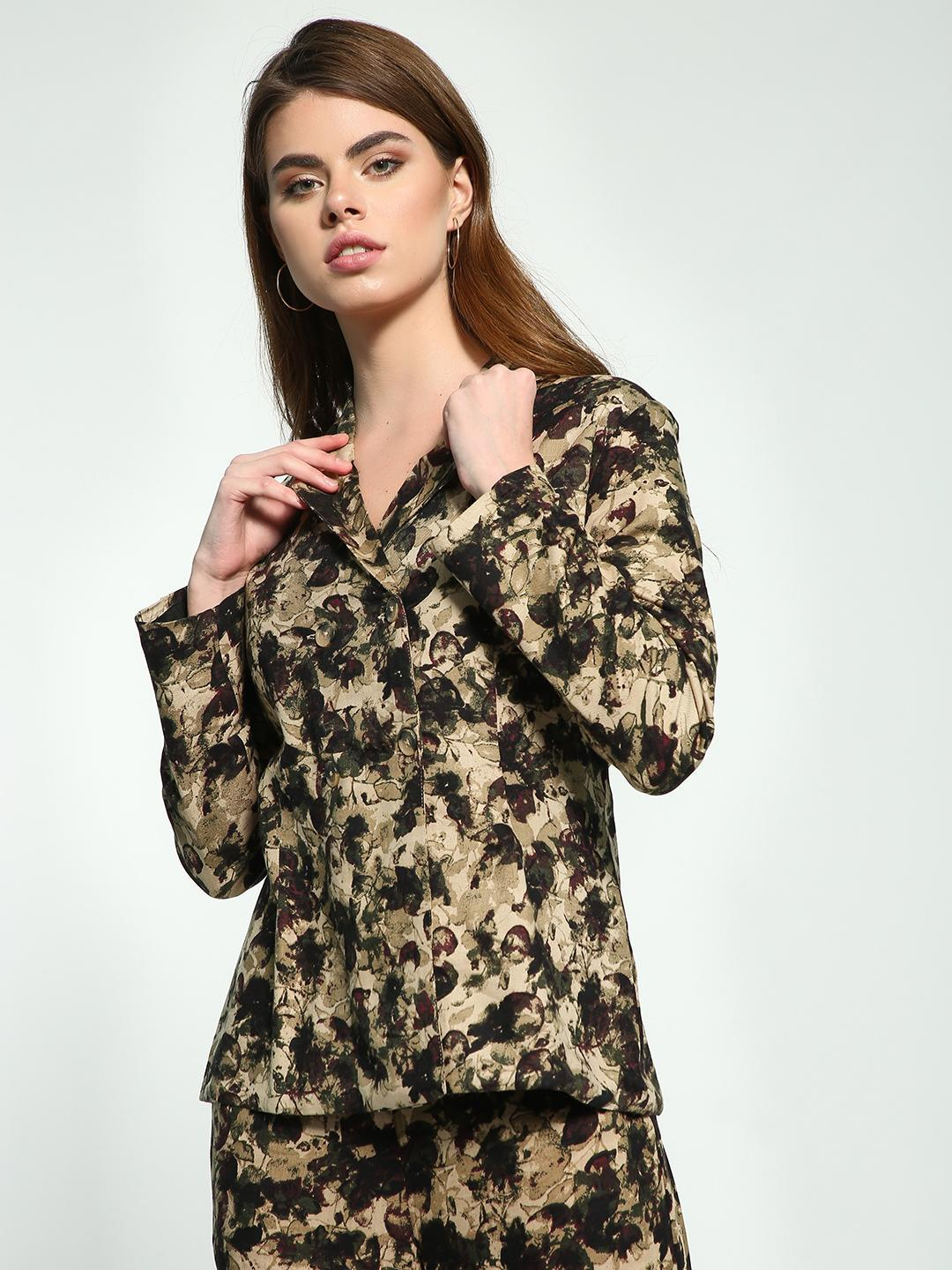 Ri-Dress Multi Abstract Floral Print Double-Breasted Blazer 1