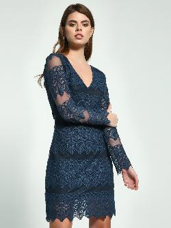 Ri-Dress Mesh Floral Lace Shift Dress