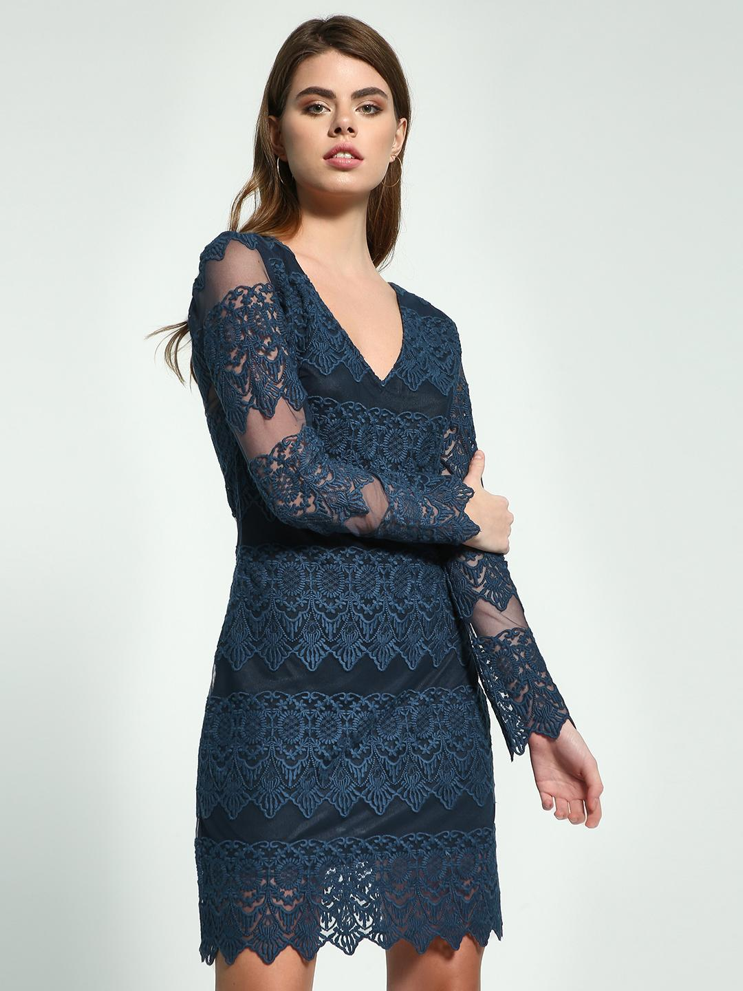 Ri-Dress Blue Mesh Floral Lace Shift Dress 1