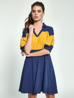 Beyond Clouds Colour Block T-Shirt Dress