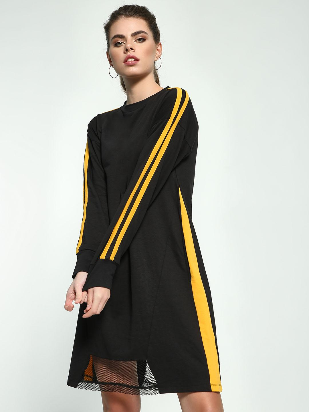 Beyond Clouds Black Side Stripe T-Shirt Dress 1