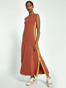 Beyond Clouds Side Stripe Popper Maxi Dress