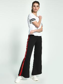Beyond Clouds Side Stripe Popper Flared Pants
