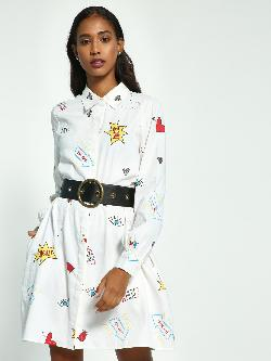 Beyond Clouds Text Sticker Print Shirt Dress