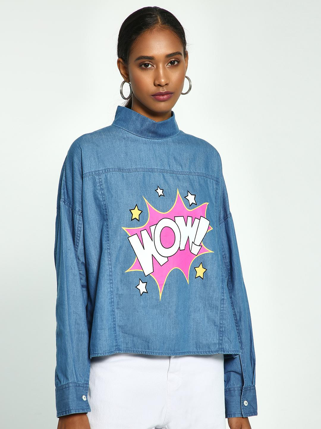 Beyond Clouds Blue Wow Sticker Print Denim Top 1