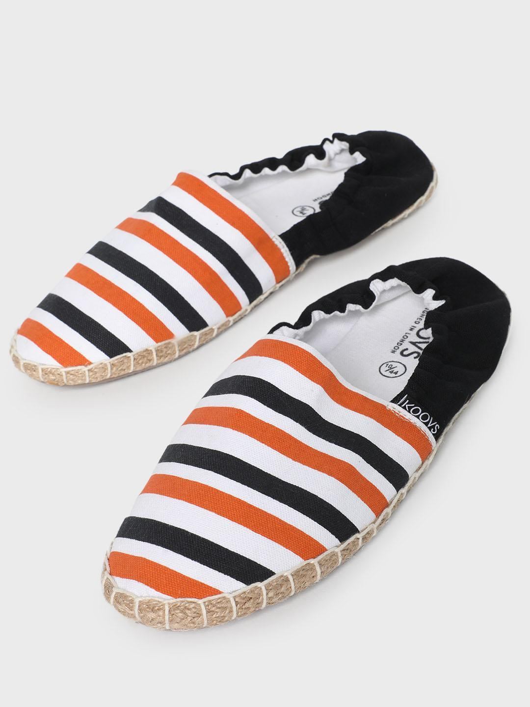 KOOVS Multi Horizontal Stripe Counter Elasticated Espadrilles 1