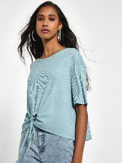Sbuys Ring Front Knot Ribbed Top