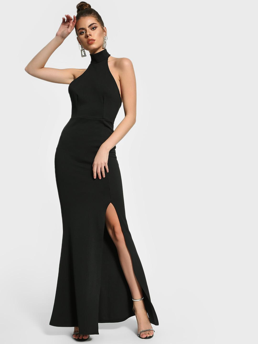 Missguided Black Halter Neck Slit Maxi Dress 1
