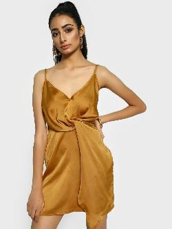 Missguided Twisted Strappy Satin Shift Dress
