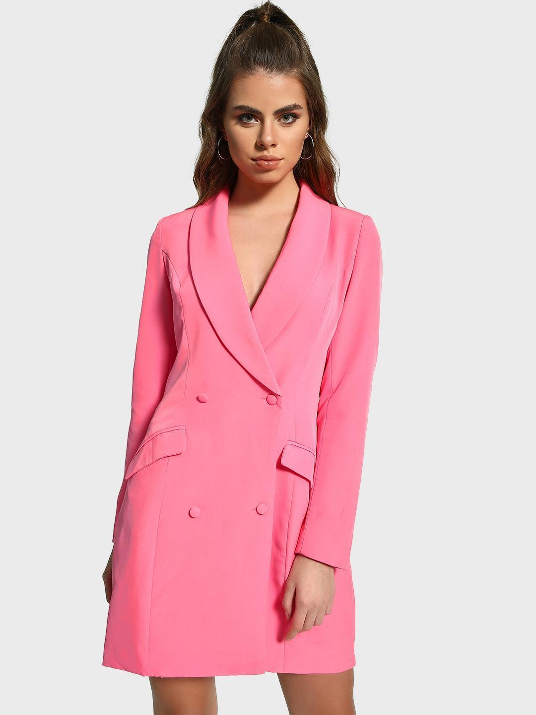 Missguided Pink Double Breasted Blazer Dress 1