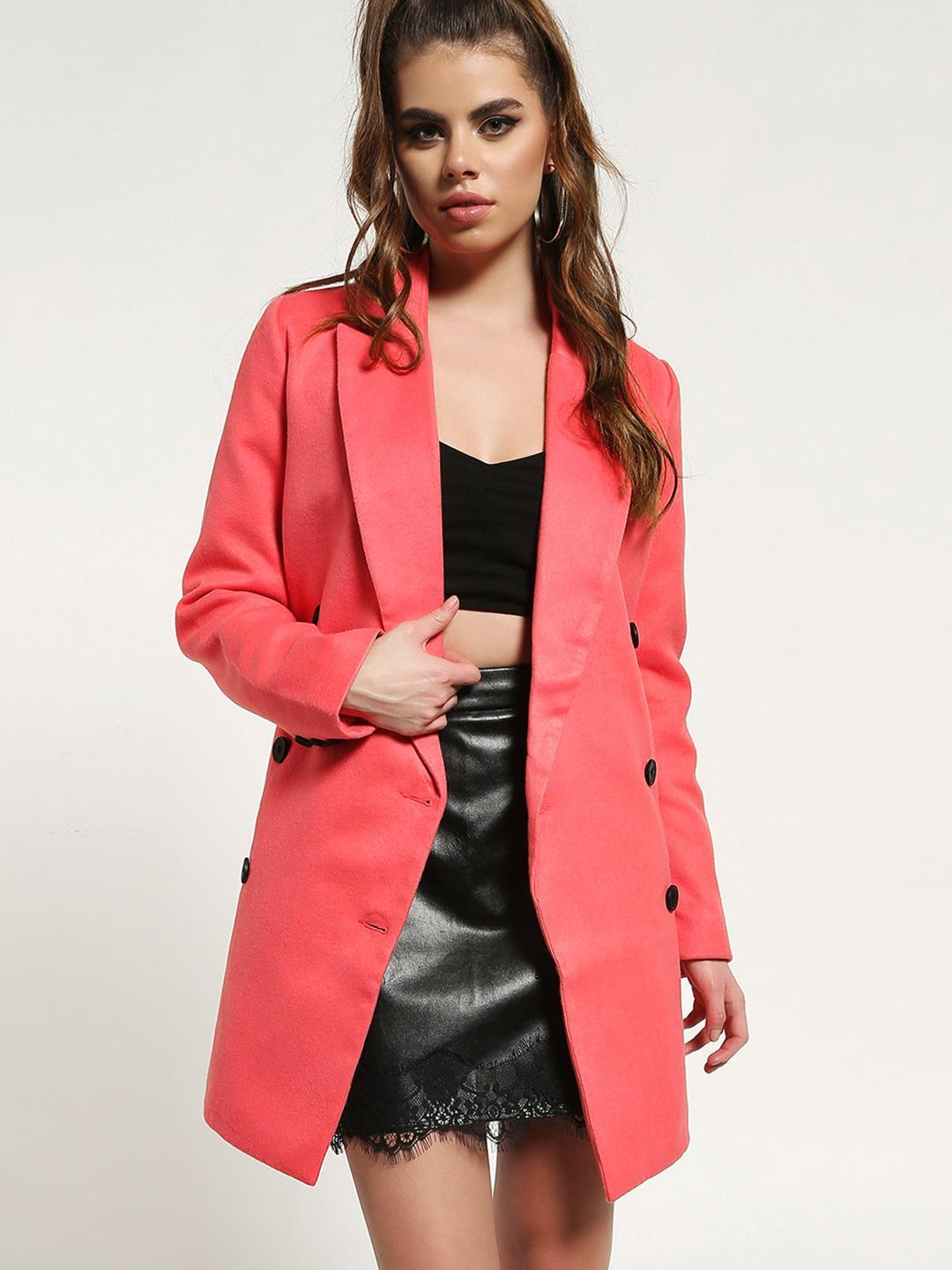 Missguided Pink Double Breasted Oversized Coat 1