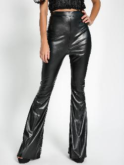 Missguided PU Flared Leg Trousers