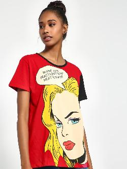 Daisy Street Comic Face Text Print T-Shirt