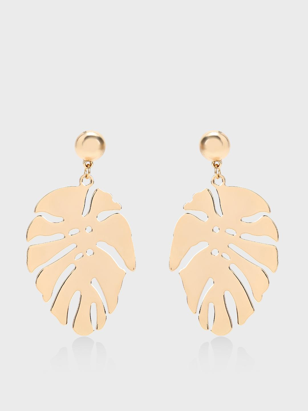 Origami Lily Gold Palm Leaf Statement Earrings 1