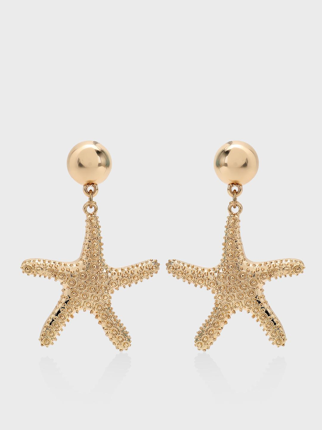 Origami Lily Gold Star Fish Statement Earrings 1