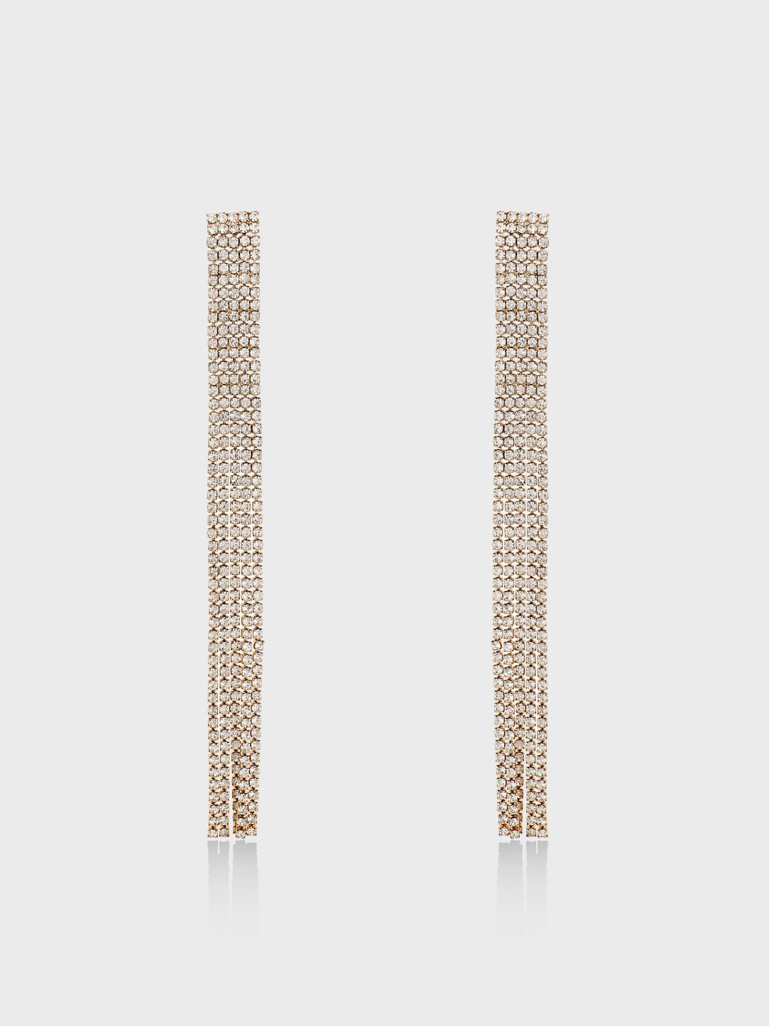 Origami Lily Gold Diamante Embellished String Earrings 1
