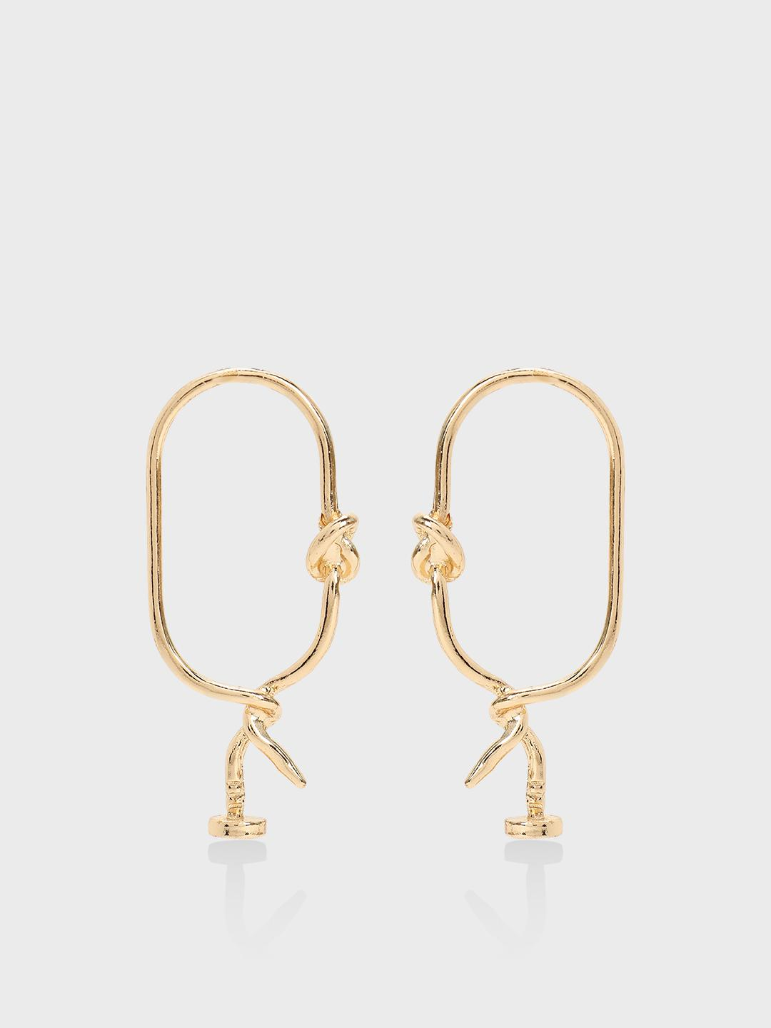 Origami Lily Gold Double Knot Statement Earrings 1
