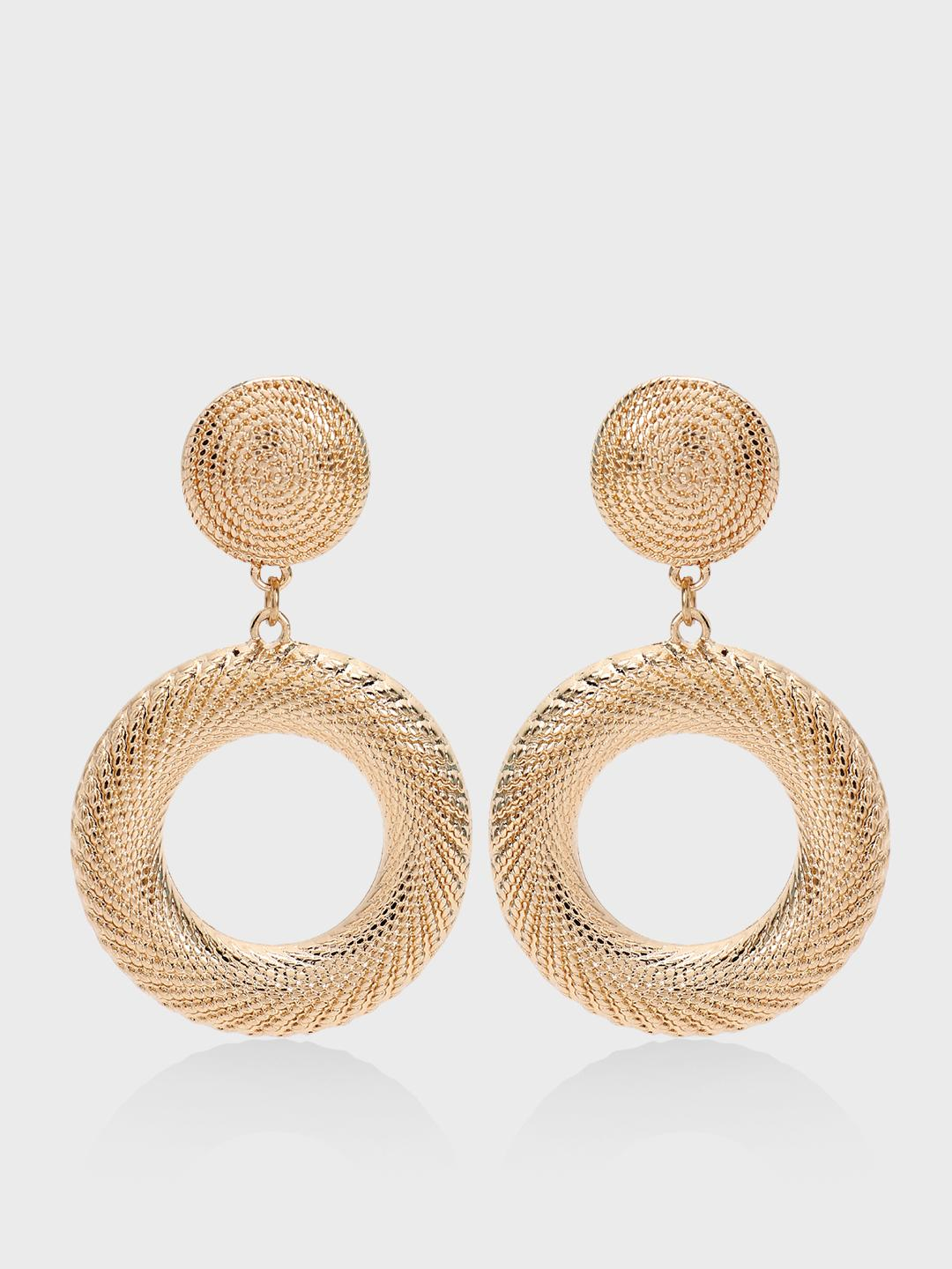 Origami Lily Gold Gold Textured Concentric Earrings 1