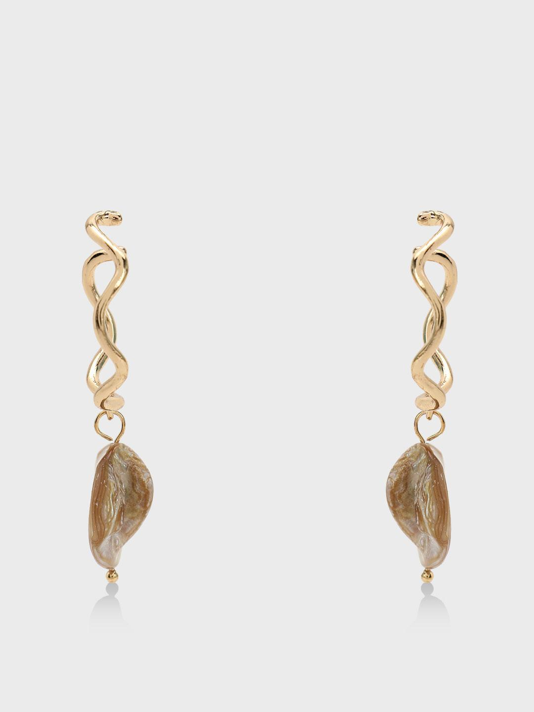 Origami Lily Off White Pearl Drop Hoops 1
