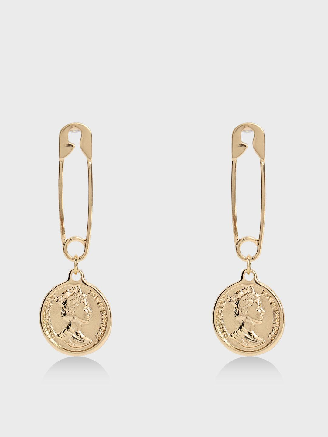 Origami Lily Gold Safety Pin Coin Drop Earrings 1