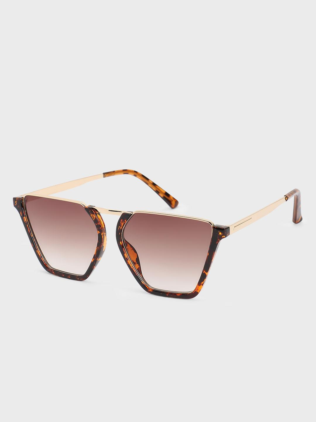 Origami Lily Brown Tortoise Shell Oversized Square Sunglasses 1
