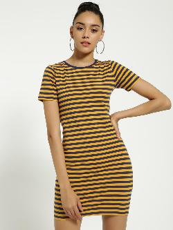 Blue Saint Horizontal Stripe Bodycon Dress