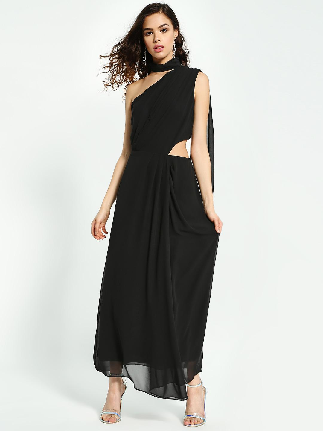 Oliv Black Choker Neck Cut-Out Maxi Dress 1