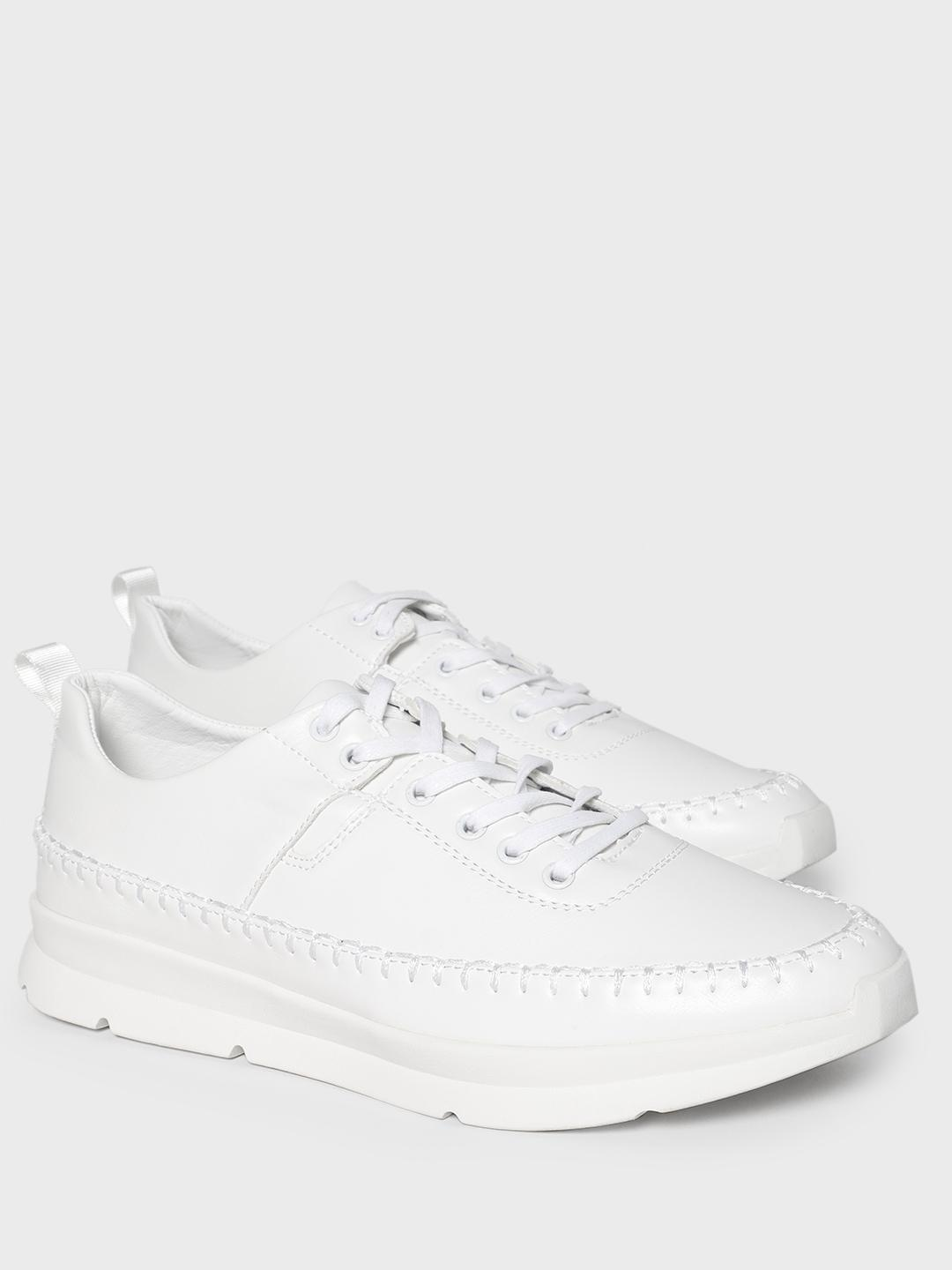 KOOVS White Contrast Stitching Solid Sneakers 1