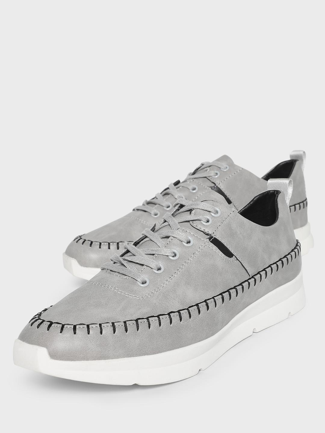KOOVS Grey Contrast Stitching Solid Sneakers 1
