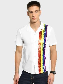 Manish Arora Paris X KOOVS Rainbow Sequin Broad Stripe Shirt
