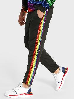 Manish Arora Paris X KOOVS Rainbow Sequin Stripe Jog Pants