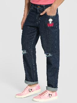 Manish Arora Paris X KOOVS Tuzki Badge Ripped Straight Jeans