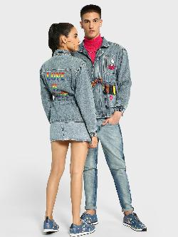 Manish Arora Paris X KOOVS Rainbow Sequin Utility Denim Jacket