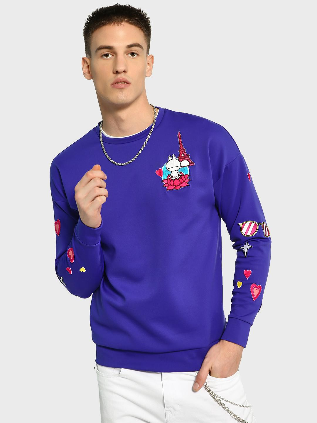 Manish Arora Paris X KOOVS Blue Tuzki Heart Badge Applique Sweatshirt 1
