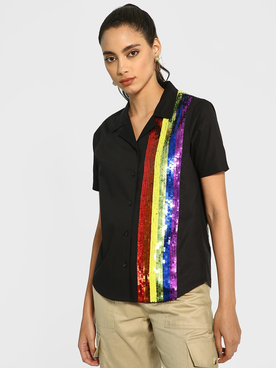 Manish Arora Paris X KOOVS Black Rainbow Sequin Broad Stripe Shirt 1
