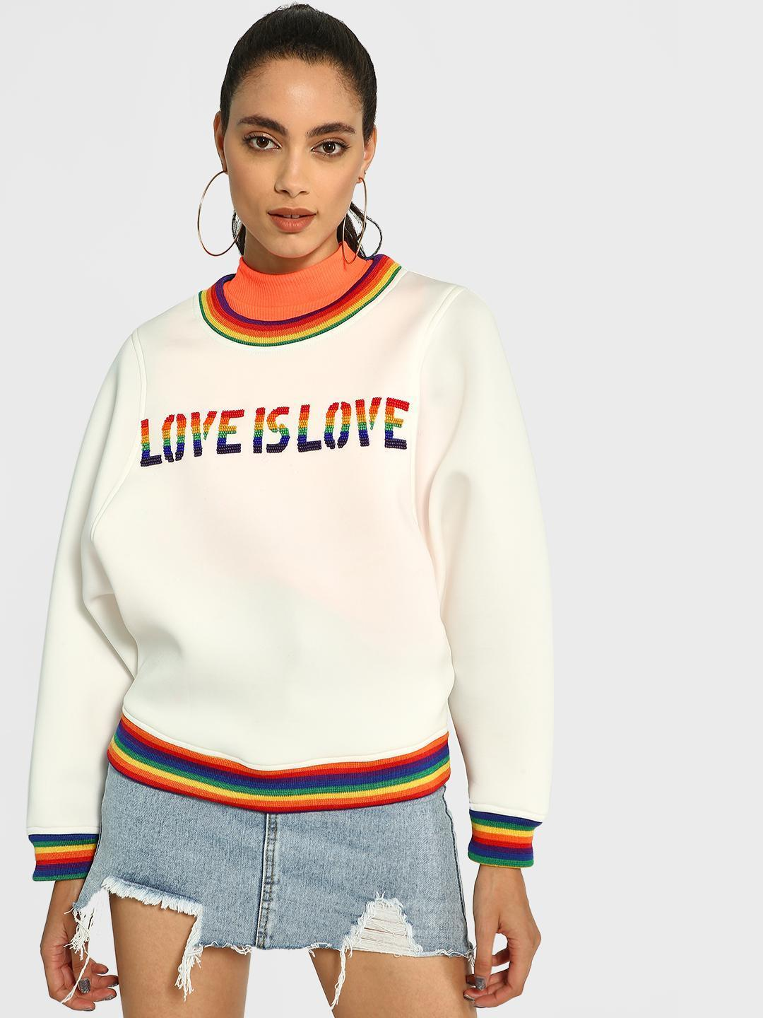 Manish Arora Paris X KOOVS White Love Is Love Beaded Batwing Sweatshirt 1