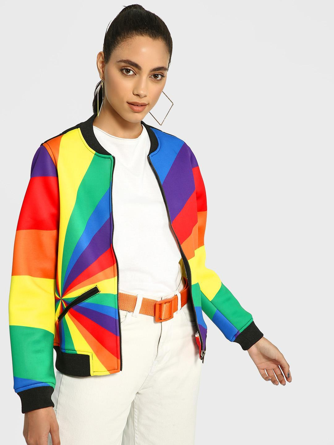 Manish Arora Paris X KOOVS Multi Rainbow Colour Block Bomber Jacket 1