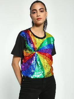Manish Arora Paris X KOOVS Rainbow Sequin Embellished T-Shirt