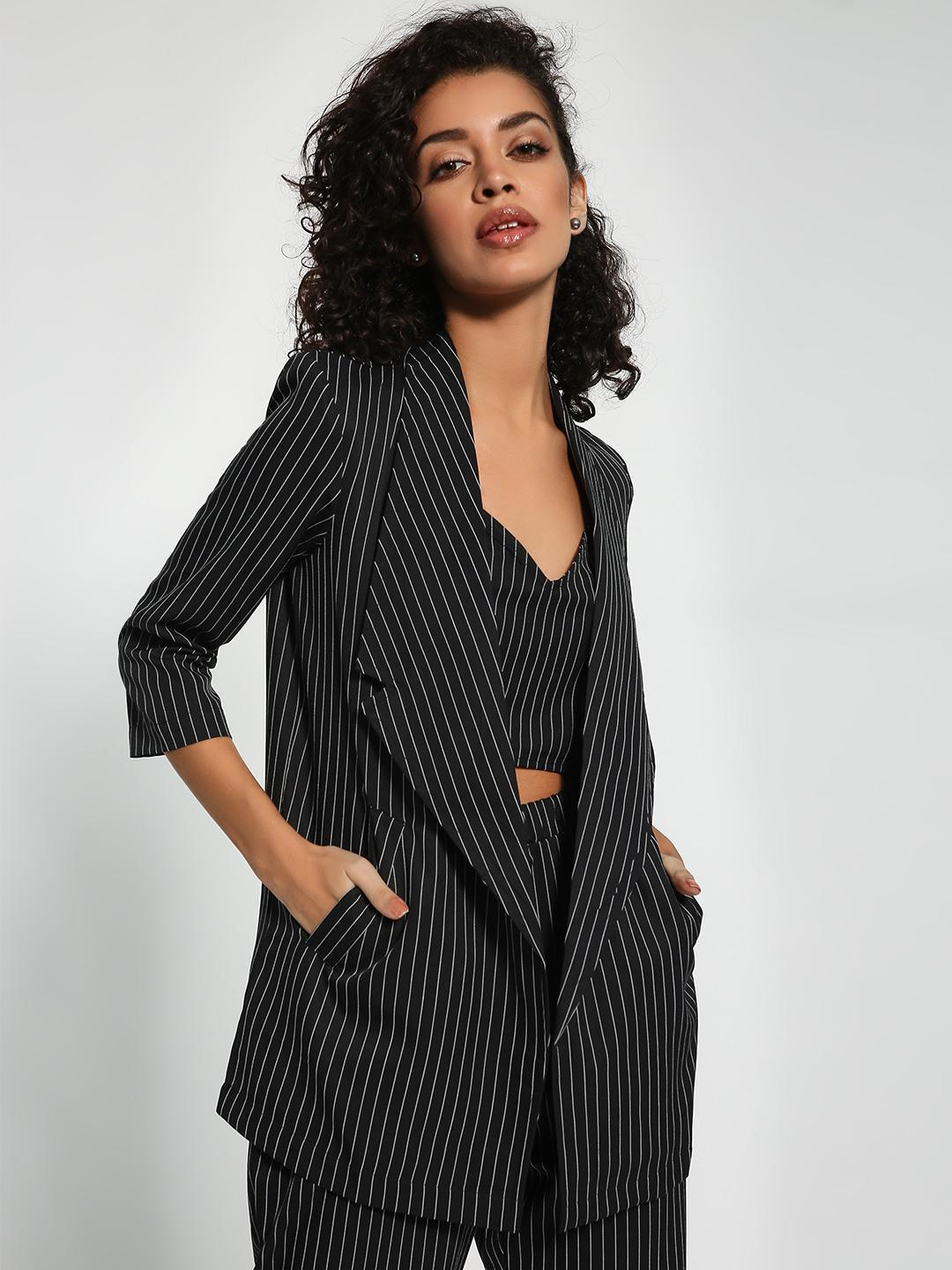 Closet Drama Black Pinstripe Longline Tailored Blazer 1