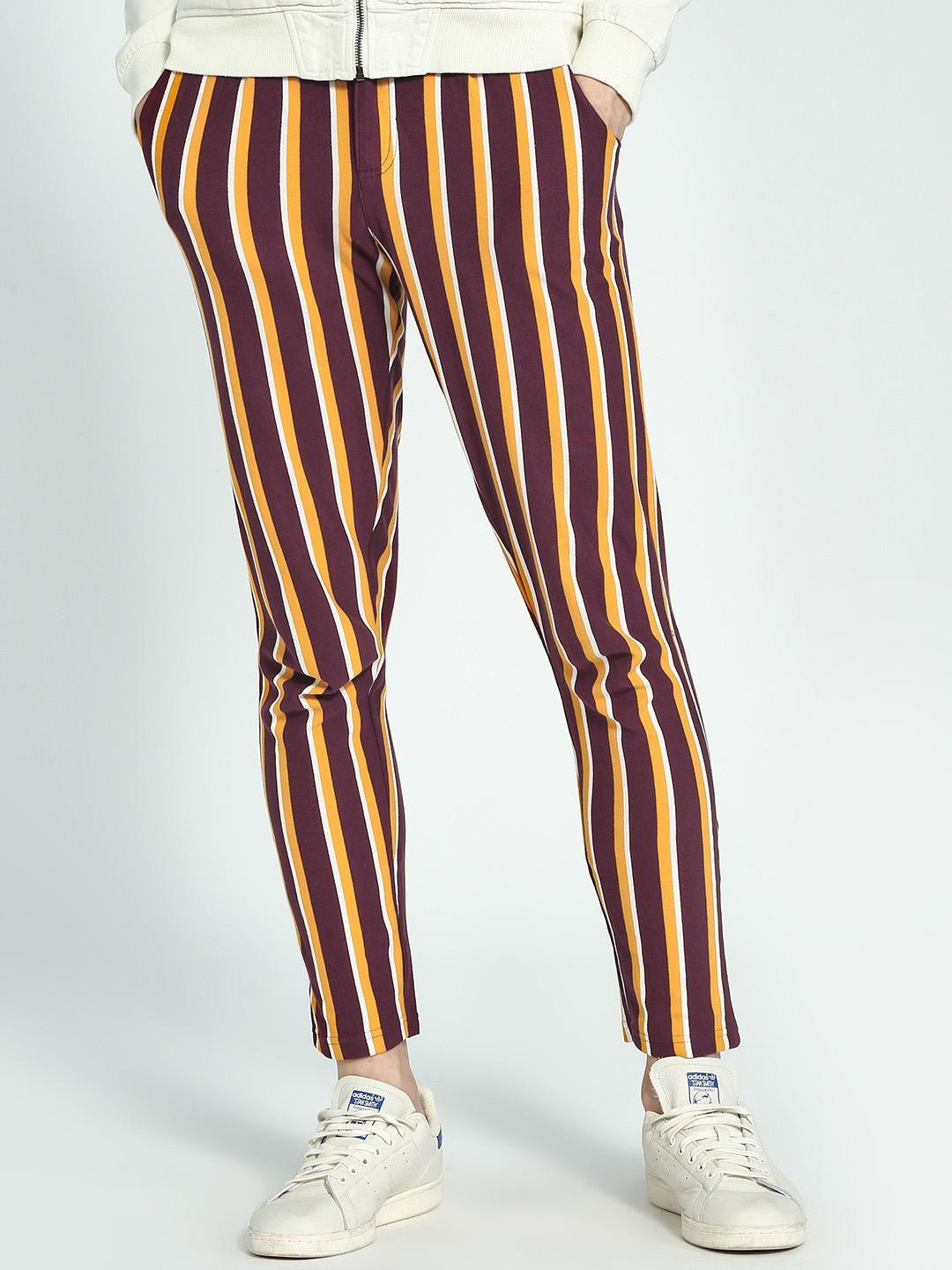 Garcon Maroon Yarn-Dyed Vertical Stripe Trousers 1