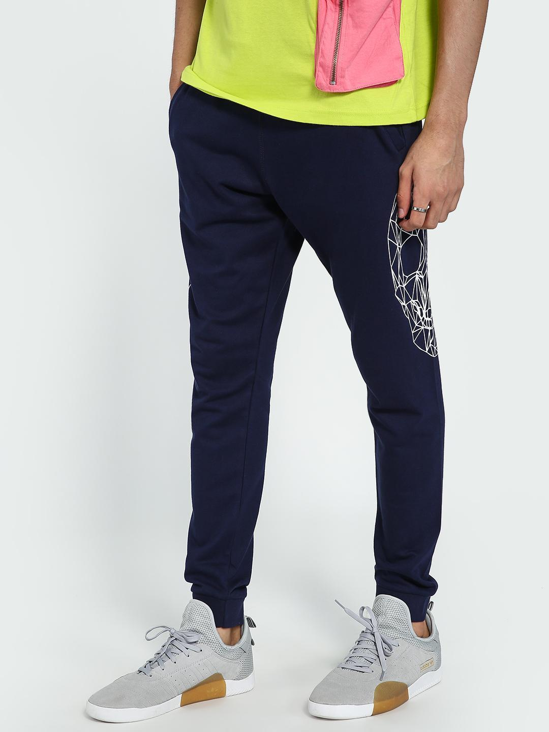 Garcon Navy Skull Placement Print Joggers 1