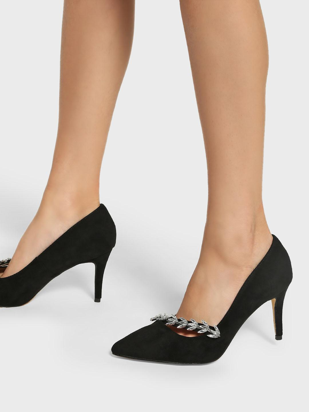 Intoto Black Suede Diamante Embellished Pumps 1