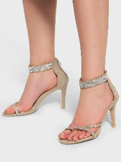 Intoto Suede Diamante Embellished Heeled Sandals