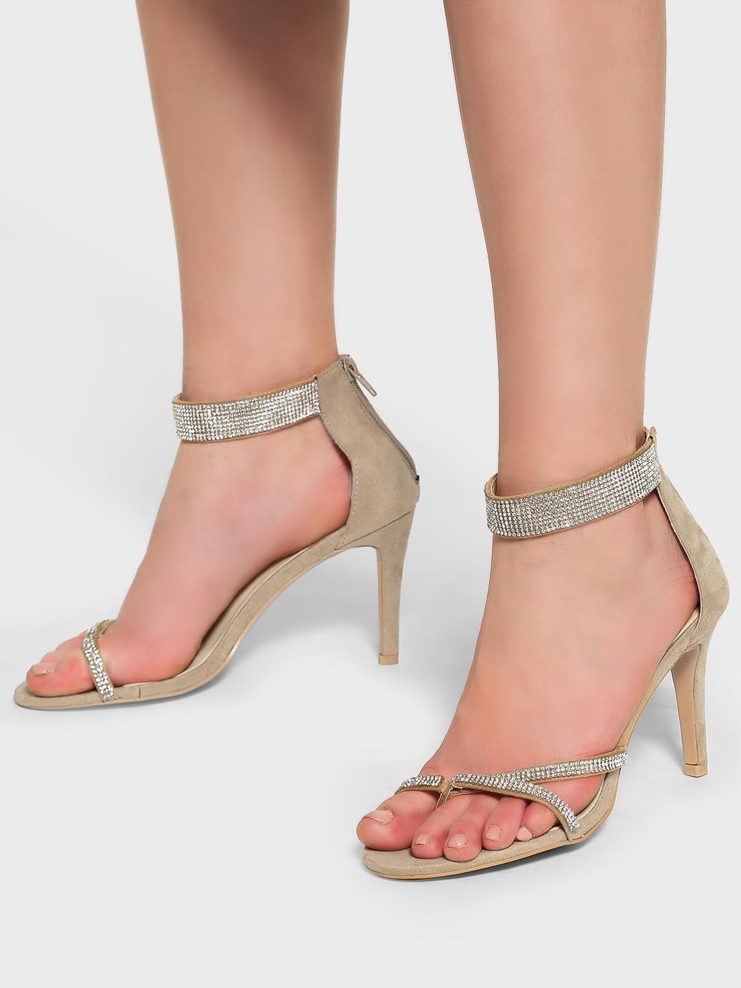 Intoto Beige Diamante Embellished Suede Heeled Sandals 1
