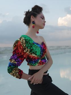 Manish Arora Paris X KOOVS Rainbow Sequinned One Shoulder Top