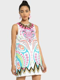 Manish Arora Paris X KOOVS Digital Print Sequin Shift Dress