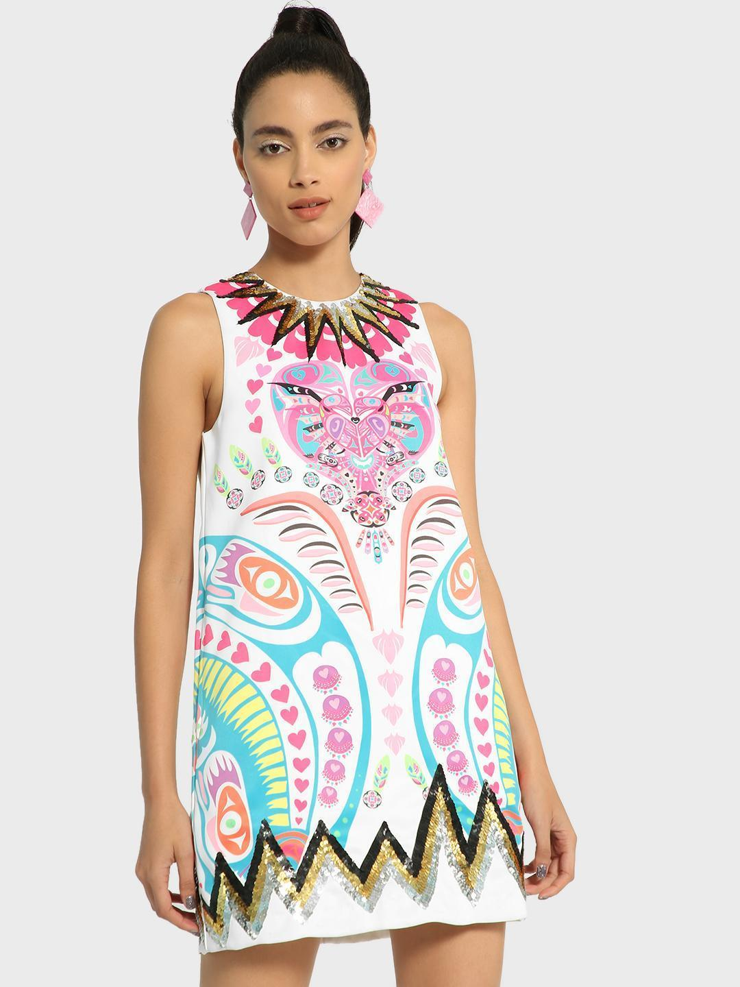 Manish Arora Paris X KOOVS Multi Digital Print Sequin Shift Dress 1