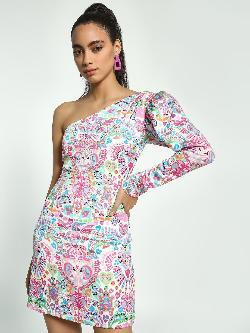 Manish Arora Paris X KOOVS Digital Print Sequinned One-Shoulder Dress