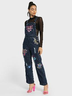 Manish Arora Paris X KOOVS Native Art Badge Sequin Denim Dungaree