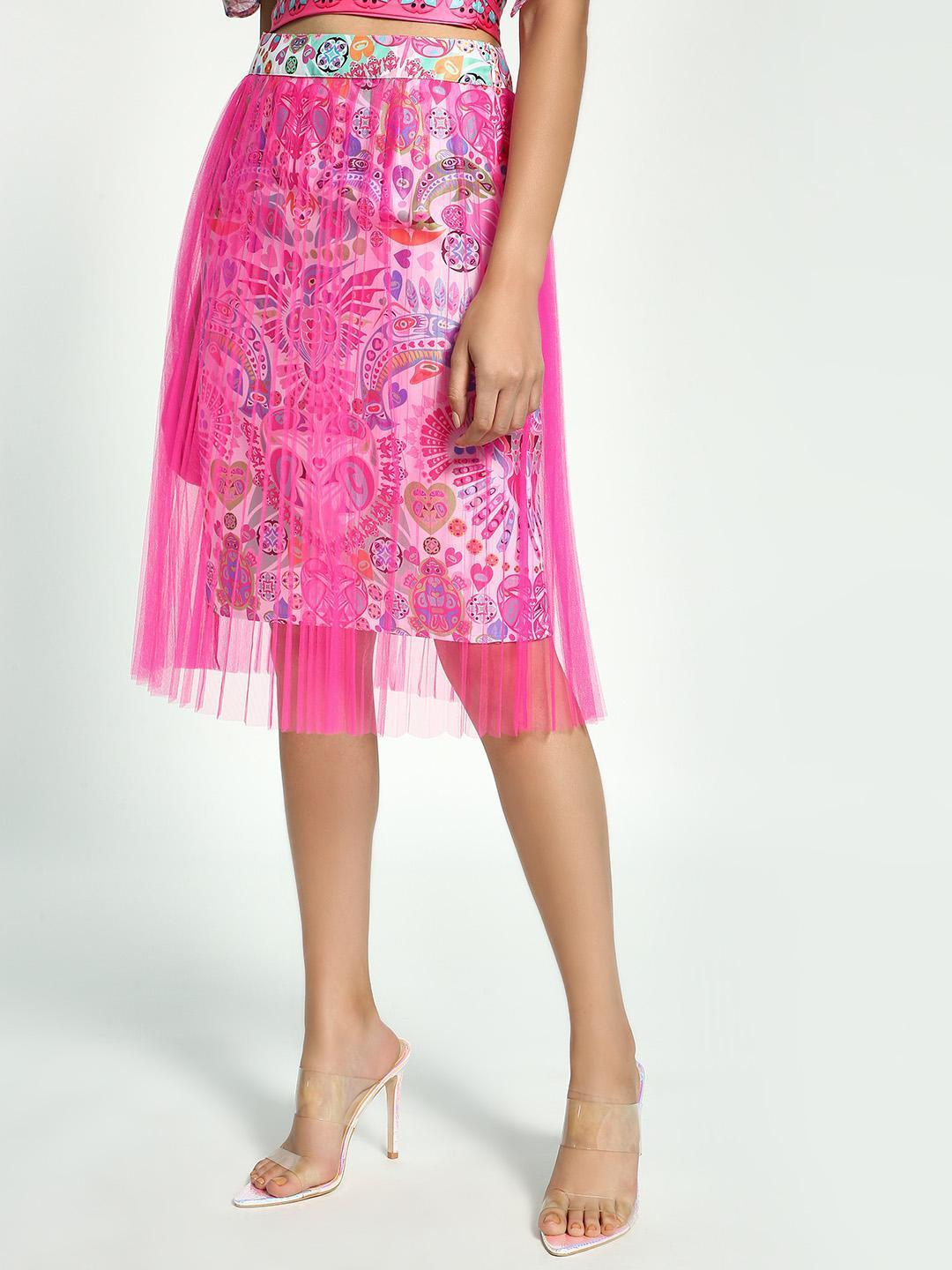 Manish Arora Paris X KOOVS Pink Digital Print Pleated Mesh Midi Skirt 1